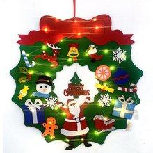 Filcowe choinki DIY ozdoby choinkowe szwy litery z girlanda żarówkowa LED Lights ozdoby do dekoracji domu tanie tanio DUUTI CN (pochodzenie)