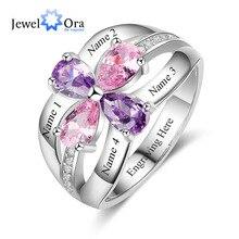 אישית לאחות לחרוט 4 חברים שם 4 אבן המזל מבטיחים טבעות 925 סטרלינג תכשיטי כסף (JewelOra RI103285)