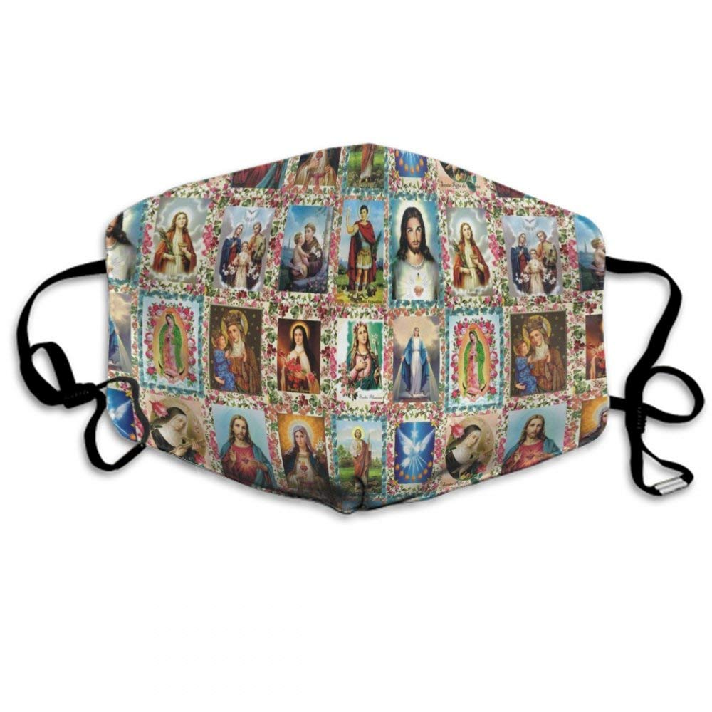 CIGOCI Fashion Earloop Mouth Mask, Anti-Dust Pollenm Mouth-Muffle With Adjustable Elastic Band - Windproof Catholic Saints