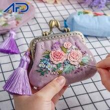 Cinta DIY bordado flores cartera para principiante Kits de costura Cruz puntada serie manualidades DIY monedero conjunto de materiales