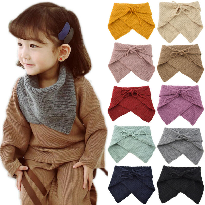 2019 Newly Cute Triangle Children Girls Knitted Cotton Warm Scarf Shawl Wrap Collar Winter Gift