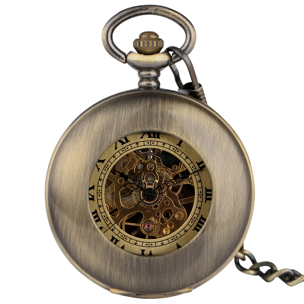 Steampunk Pocket Watch Bronze Hollow-out Design Case Retro Dial Mechanical Hand Wind Necklace Chain Clock Zegarek Kieszonkowy