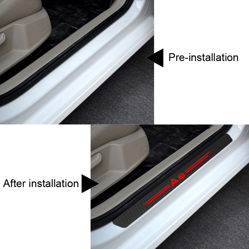 3D Sticker Carbon Fiber Vinyl Deco Cover Car Door Sill Silver Scratch Cover MSS