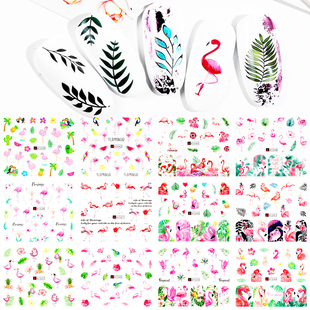 Cross Border For Nail Sticker INS-Style Popular Moltres Swan Green Leaf Nail Transfer Decal Summer Day Nail