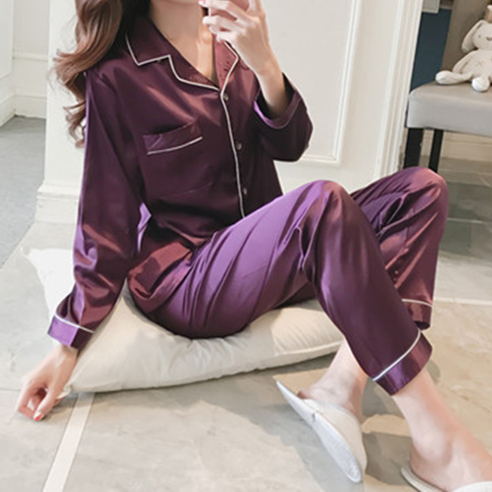 2PCS Pajamas Sets Women Lapel Imitation Silk Long Sleeve Home Wear Ladies Mujer Sexy Satin Tops+Pants Nightgown Sleepwear
