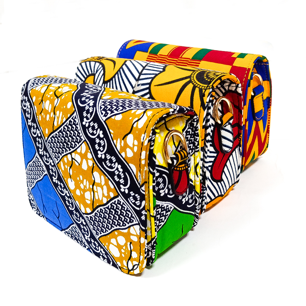 African Bag Inclined Shoulder Bag High Quality Cotton Material Traditional Ankara Bag Cotton Wax Print Material For Woman Bag