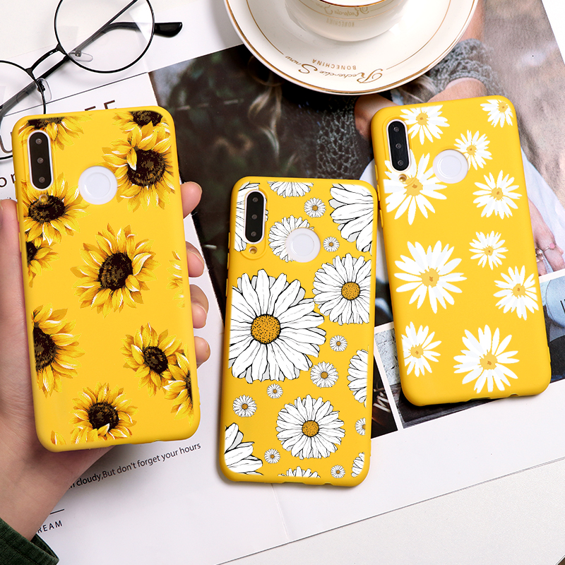 Daisy Sunflower Matte Case For Huawei P40 P30 P10 P20 Honor 8X 9X Mate 20 10 9 Lite Pro Y6 Y7 Y9 P Smart 2019 Z Phone Case Cover