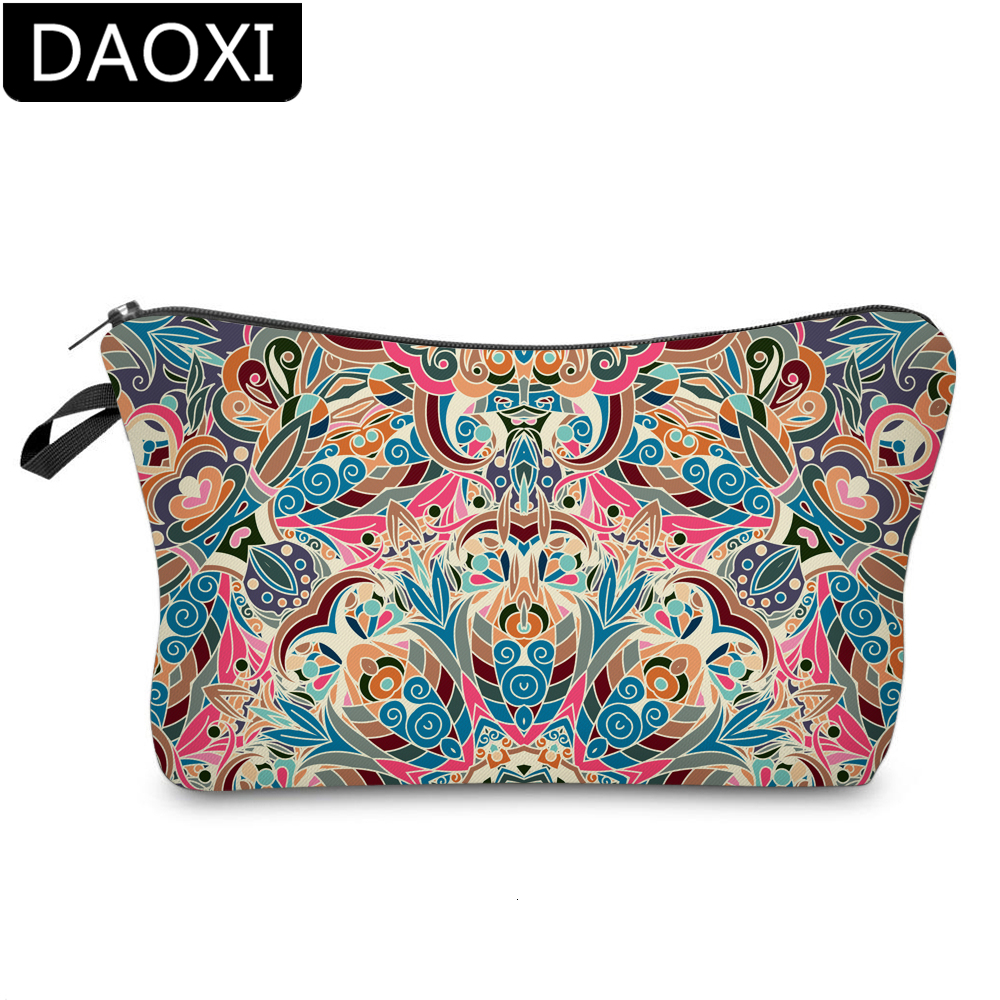 DAOXI Colorful Mandala Flower Cosmetic Bag Stylish Storage Bag Women Small Makeup Bag For Travel DX51558