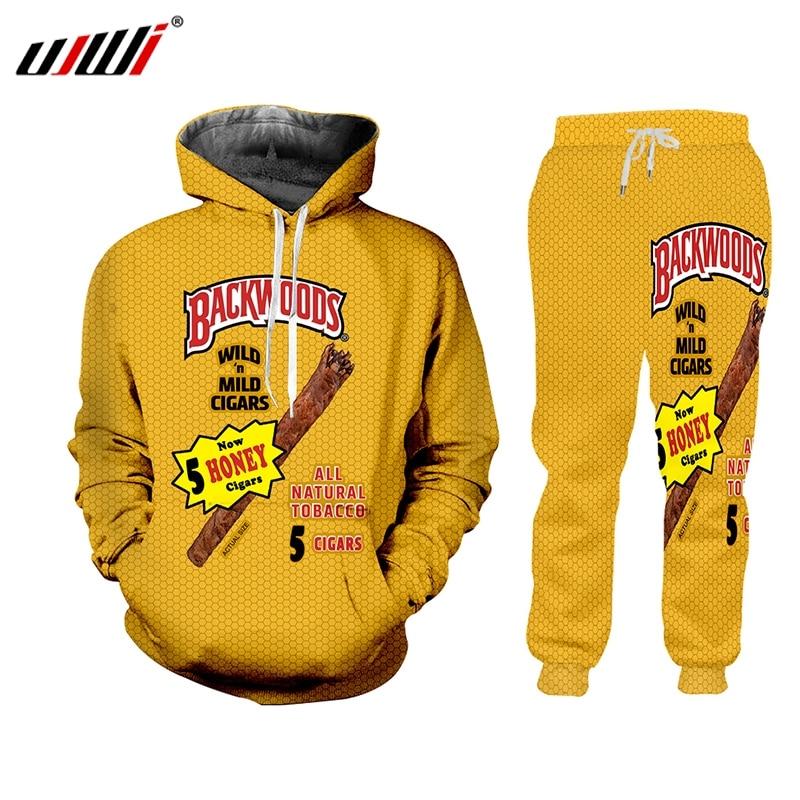 UJWI 2019 New Yellow O-Neck Hoodies Streetwear Backwoods Hoodie Sweatshirt Men 2 Piece Set Autumn Winter Tracksuit Set Pullover