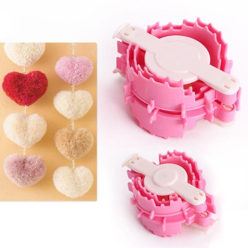 2X Размер L + S в форме сердца Pom Maker Детский пушистый шар ткач инструмент для вязания