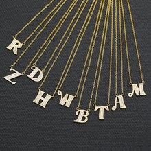 Стразы ожерелье с надписью для женщин cz Циркон алфавит подвеской
