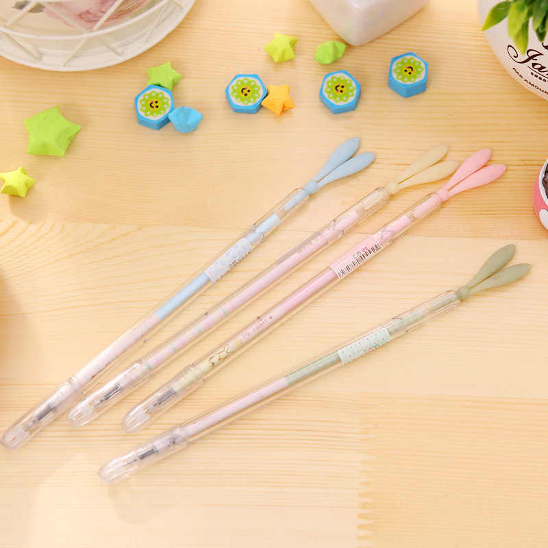 Cute Kawaii Silicone Rabbit Ear Gel Pen School Office Supply Stationery Writing Signing Tool Cute Gift Bunny Multi Function
