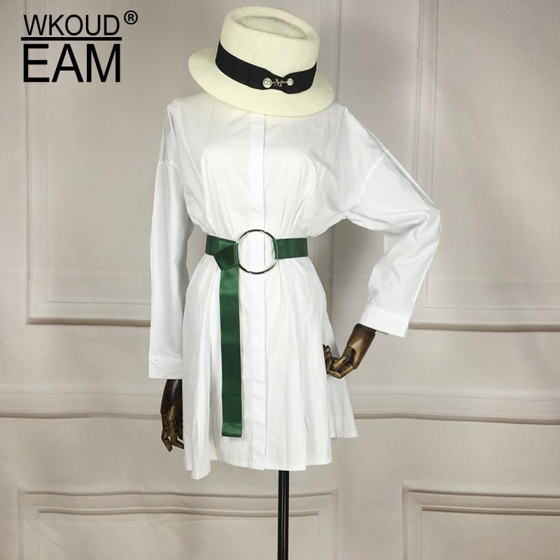 WKOUD EAM 2020 New Fashion Trendy Belt Women Smooth Knit Classical Tide Casual Vintage Solid Metal Ring Buckle Belt Female ZJ959