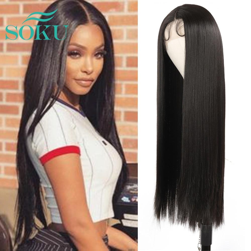Parte do meio da cor natural reta longa peruca sintética dianteira do laço com cabelo do bebê peruca resistente ao calor do laço da fibra para a mulher preta