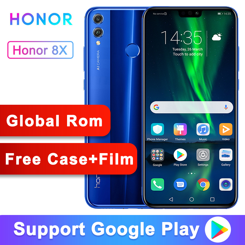 Global ROM Optional Original Honor 8X 6.5-inch Screen 3750mAh 20MP Dual Cameras Android 8.2 Multi-language Smartphone