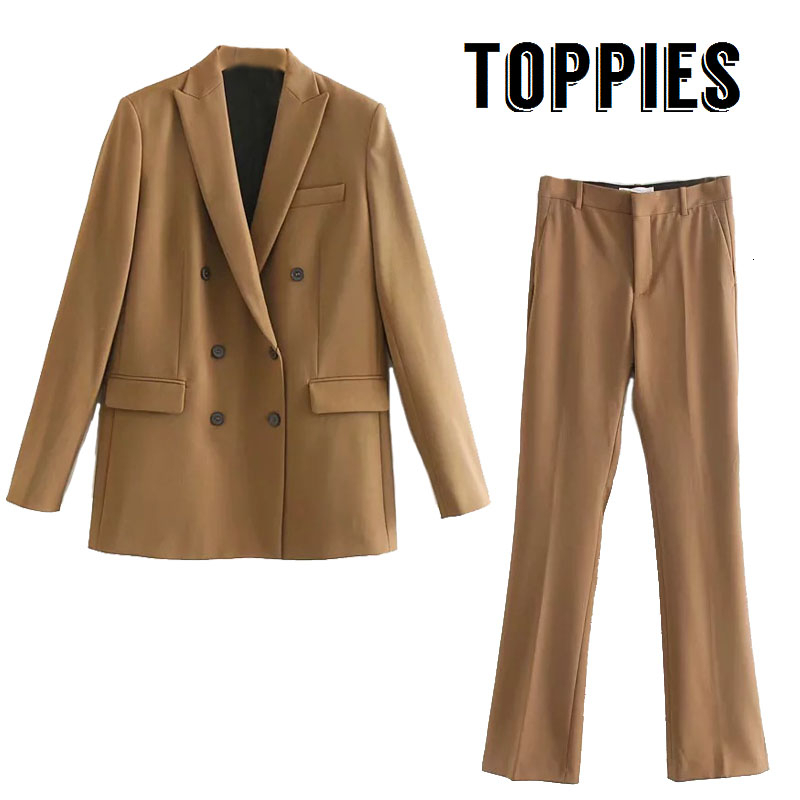 2020 Spring Autumn Suits Ladies Office Two Piece Set Double Breasted Blazer Winter Jacket Women High Waist Pants Suit