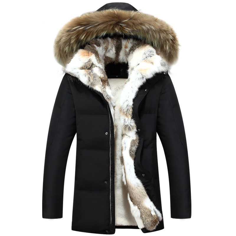 2019 Winter Jacket Men Cotton Coat Parkas Male Jacket Thickened Warm Rabbit Fur Collar Raccoon Fur Hooded Size S-XXL 3XL 4XL 5XL