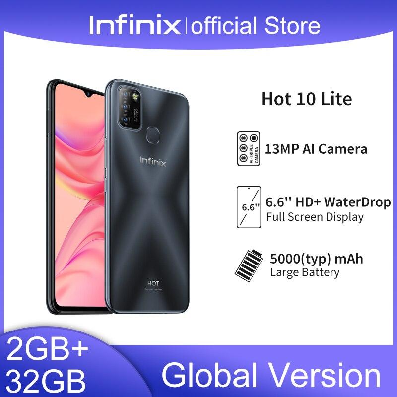 Globalna wersja Infinix Hot 10 Lite 2GB telefon komórkowy 32GB 6.6 HD ekran inteligentny telefon 5000mAh bateria 13MP AI potrójny aparat