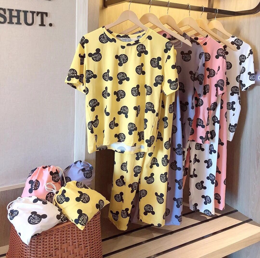 Three-piece Set Online Celebrity Cloth Bag Mickey Pajamas Women's Summer Milk Long Pants Suit Wechat Business Hot Selling