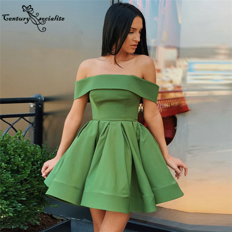 Green Homecoming Dresses Short 2021 Above Knee Off Shoulder Lace Up Cocktail Dress Prom Dresses Party Gowns Vestido De Fiesta