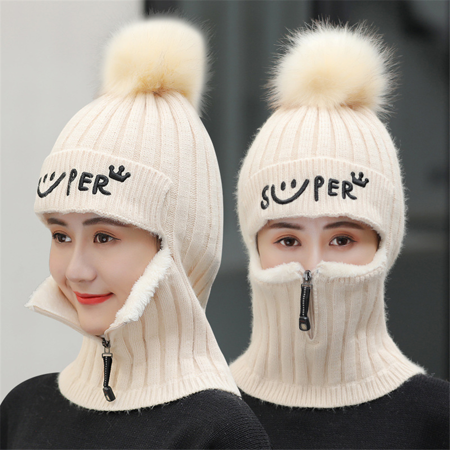 Image 4 - Brand Winter Hats Set Women Knitted Wool Hat Mask Lady Warm Velvet Thick Cycling Beanies Skullies Hat Female Collar Jumper CapWomens Skullies & Beanies   -