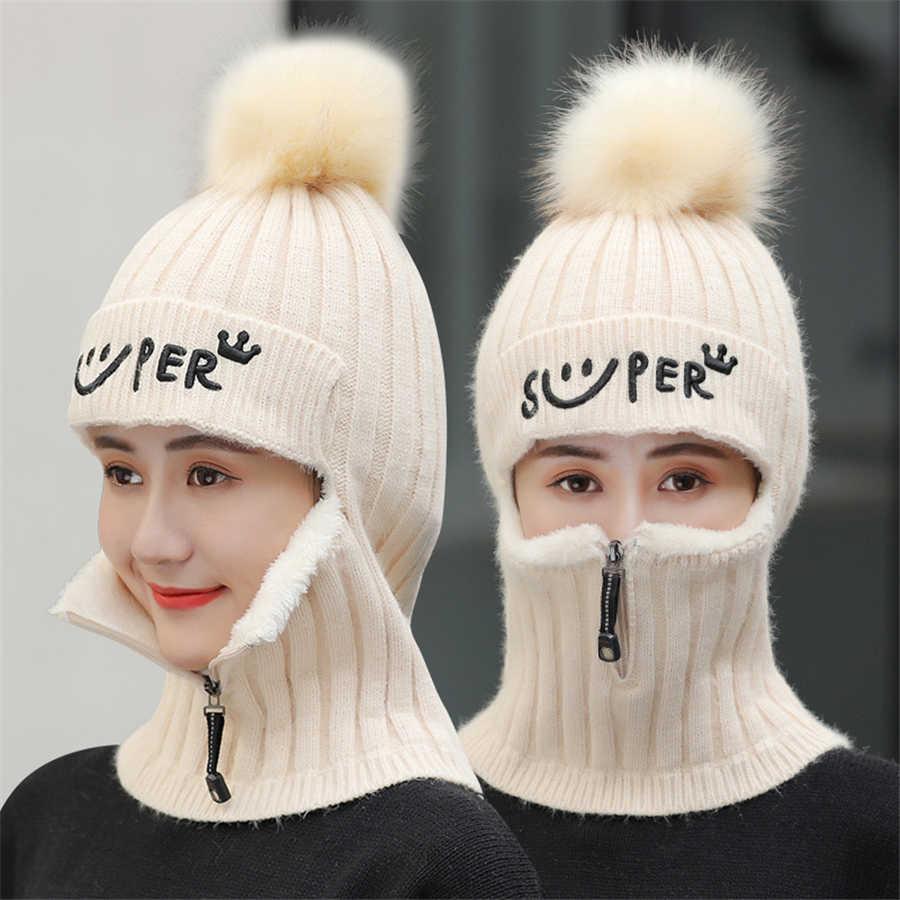 Marke Winter Hüte Set Frauen Gestrickte Wolle Hut Maske Dame Warme Samt Dicken Radfahren Mützen Skullies Hut Weibliche Kragen Jumper kappe