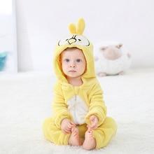 Sarı papağan bebek Romper NewbornKawaii bebek kız erkek giysileri Onesie tulum çocuk giyim bebek tulum parti karnaval kostüm