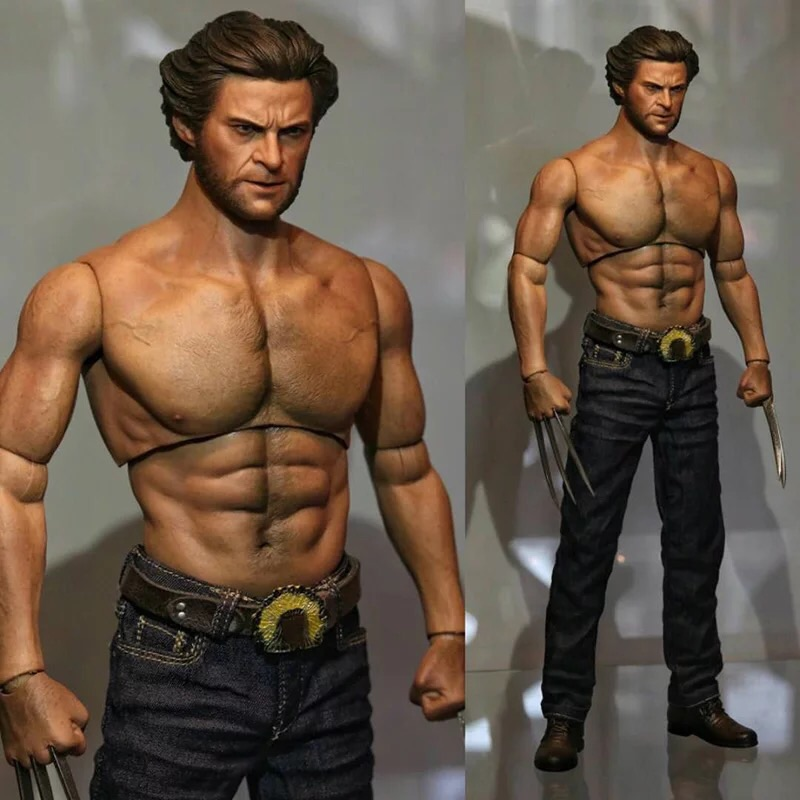 1/6 Male Muscle Body Wolverine Logan Figure 31CM Wide Shoulder AT012 Fit HT Hot Toys Head Sculpt Collectible Toys In Stock