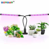 BUYBAY Dual Cabeças Levou Crescer Espectro Completo de Luz Fito 18W Crescer Lâmpada para Plantas de Estufa Hidropônica lâmpada com Flexível clipe