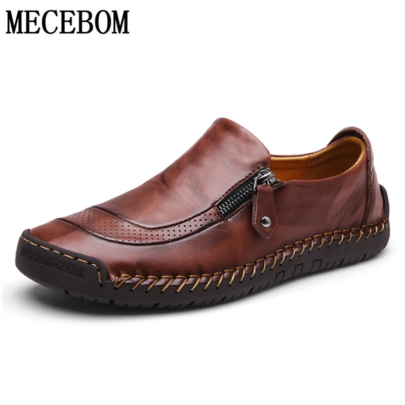 Men Casual Shoes Plus Size 47 Quality Split Leather Loafers Slip-on Brown Mens Dress Shoes Comfortable Flats Moccasins 5709m