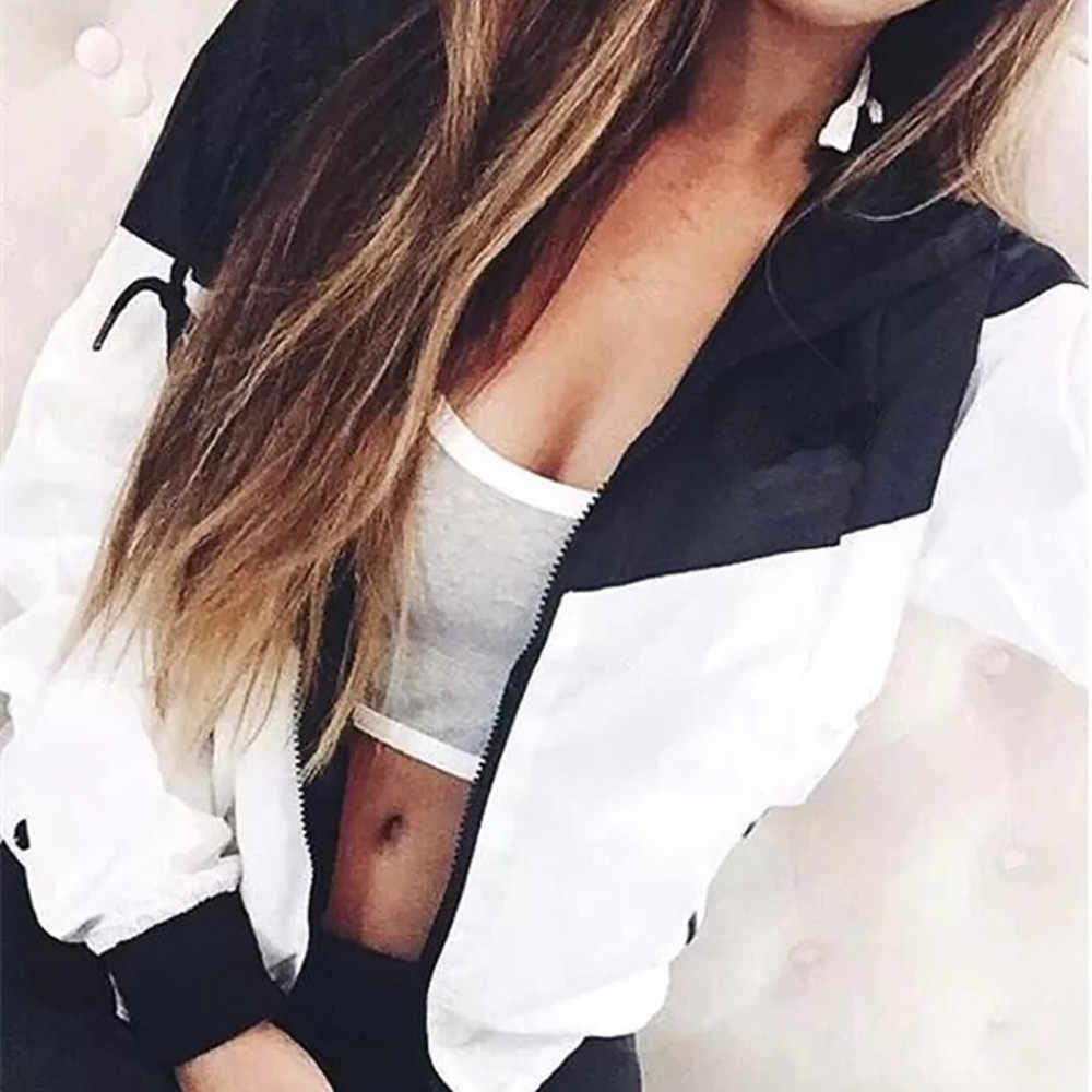 Kurtka kobiety jesień Patchwork cienkie kombinezony z kapturem kieszenie na zamek błyskawiczny sportowy płaszcz odzież wierzchnia na zewnątrz kobiet duży rozmiar