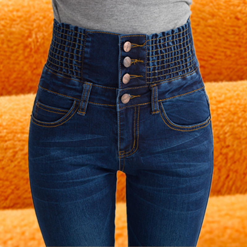 Womens Winter Jeans Fleece Lined Elastic Waist Jeggings Casual Plus Size Jeans For Women High Waist Skinny Warm Jeans