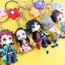 2020 Demon Slayer: Kimetsu No Yaiba Anime Key Chains Keychain Cosplay 3D Rubber Pendant Keyring Cute Funny Cartoon Toy Rare Gift