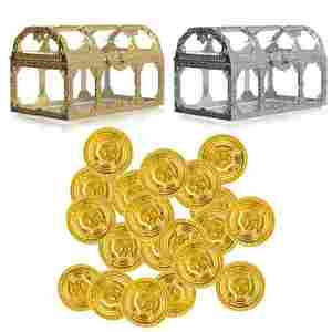 Toys Treasure-Box Crystal Pirate Plastic Money-Container for Children Gem Toy-Figures