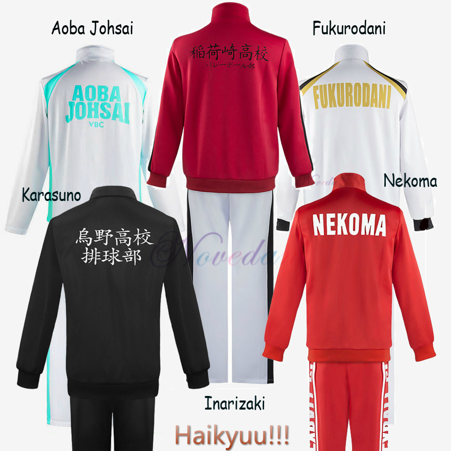 Haikyuu Cosplay Jacket Anime Volleyball Sportswear Karasuno Nekoma Aoba Johsai Fukurodani Inarizaki High School Uniform Costume