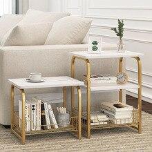 Nightstand Cabinet Storage-Basket End-Table Marble Texture Bedroom Wood Living-Room