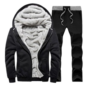 Image 2 - Men hooded Tracksuit Lined Thick Coat Sweatshirt + Pants New Sportswear Jogger Suit 2 Piece Set Brand Male Winter Sets Clothing