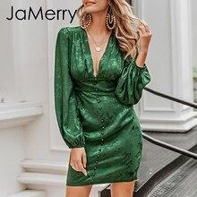 JaMerry Vestido corto de fiesta, Vintage, corto, acampanado, con hilera de botones, verde, cinta, highstreet, elegante