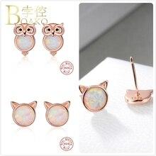 Fire Opal Earrings For Women 925 Sterling Silver Wedding Rose Gold Owl Cat Stone Girl Gift Animal aretes K5
