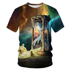 Color Men's And Women's Cosmic Star 3D Printed T-Shirts Boys/Girls Starry Sky Fashion Street Wear Round Neck Tops
