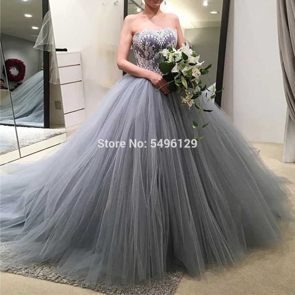 weiß appliques silber grau tüll brautkleider vestido de