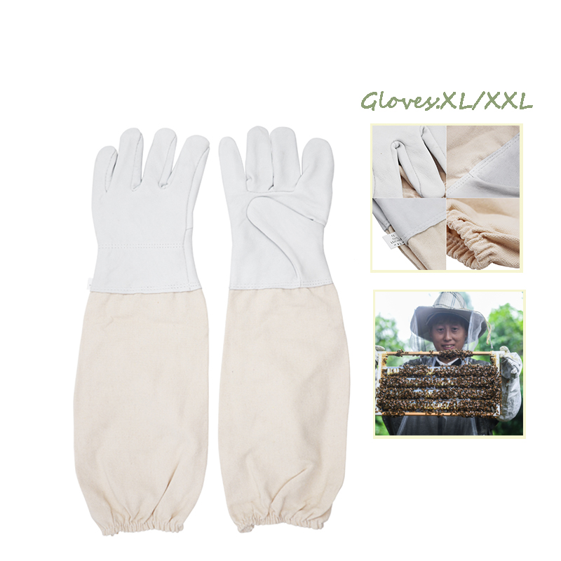 Protective Beekeeping Gloves Goatskin Bee Keeping Suit Vented Long Sleeves Guard