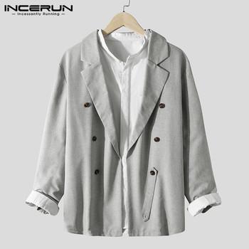 Mężczyźni w stylu Vintage jednolity kolor marynarka z kołnierzykiem z klapami garnitur INCERUN moda z długim rękawem znosić człowiek podwójne jednorzędowe guziki płaszcze Streetwear tanie i dobre opinie Poliester REGULAR CN (pochodzenie) Podwójne piersi Pełna Na co dzień Fashion Men Solid Color Blazers Khaki Grey S M L XL 2XL 3XL 4XL 5XL Plus Size