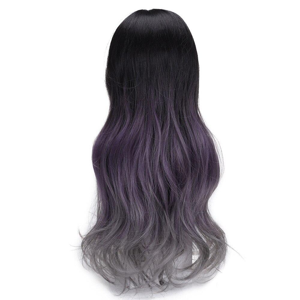 yiyaobess preto roxo cinza ombre peruca com 04