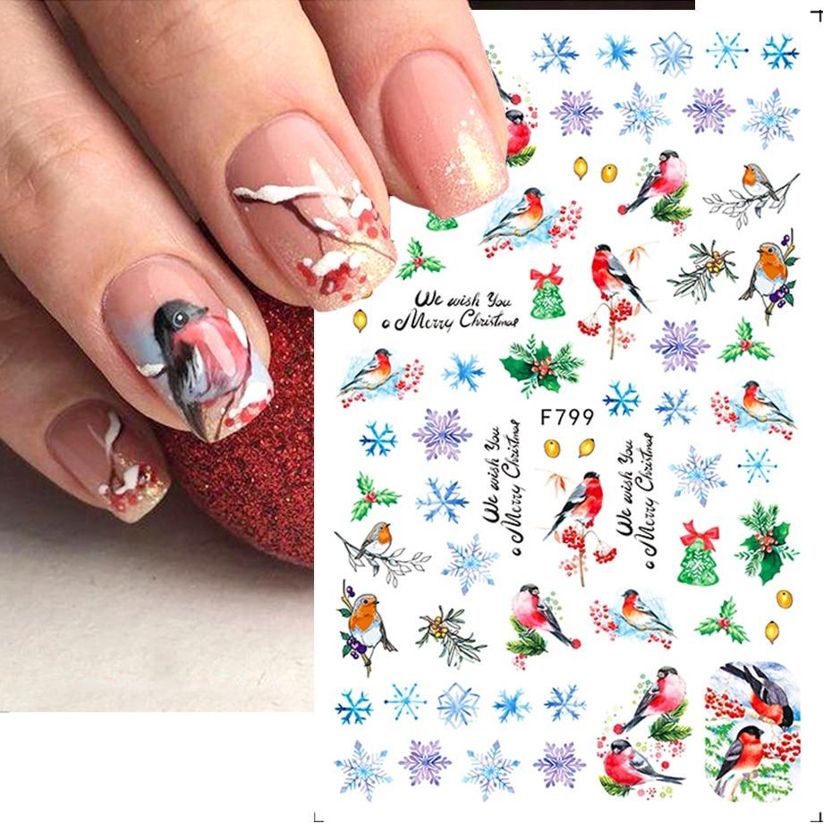1pcs Autumn Winter Nail Sticker Robin Snow Flower New Year Halloween 3D Decals Nail Art Design Decor Accessories NFF795-801