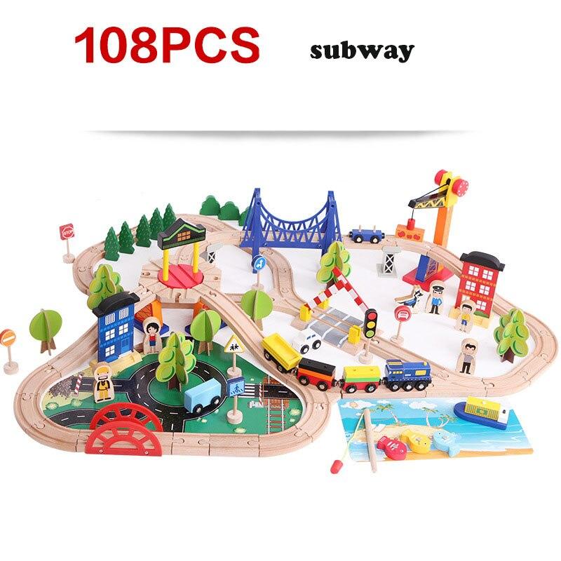 108 peças veículos crianças brinquedos compatíveis de madeira modelo de trem carro quebra-cabeça construção ferroviário trânsito pista estacionamento