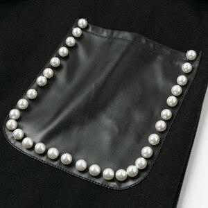 Image 5 - Missychilli黒puレザーベルト長袖の女性のエレガントな真珠の女性コート生き抜く秋冬セクシーなトレンチブレンドコート