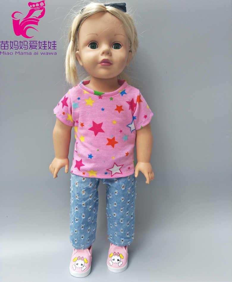 Ubrania dla lalek dla urodzonych lalki dla dzieci szary kamuflaż koszula i dżinsy krótkie spodnie 18 cal lalka chłopiec stroje koszula spodnie prezenty zabawki