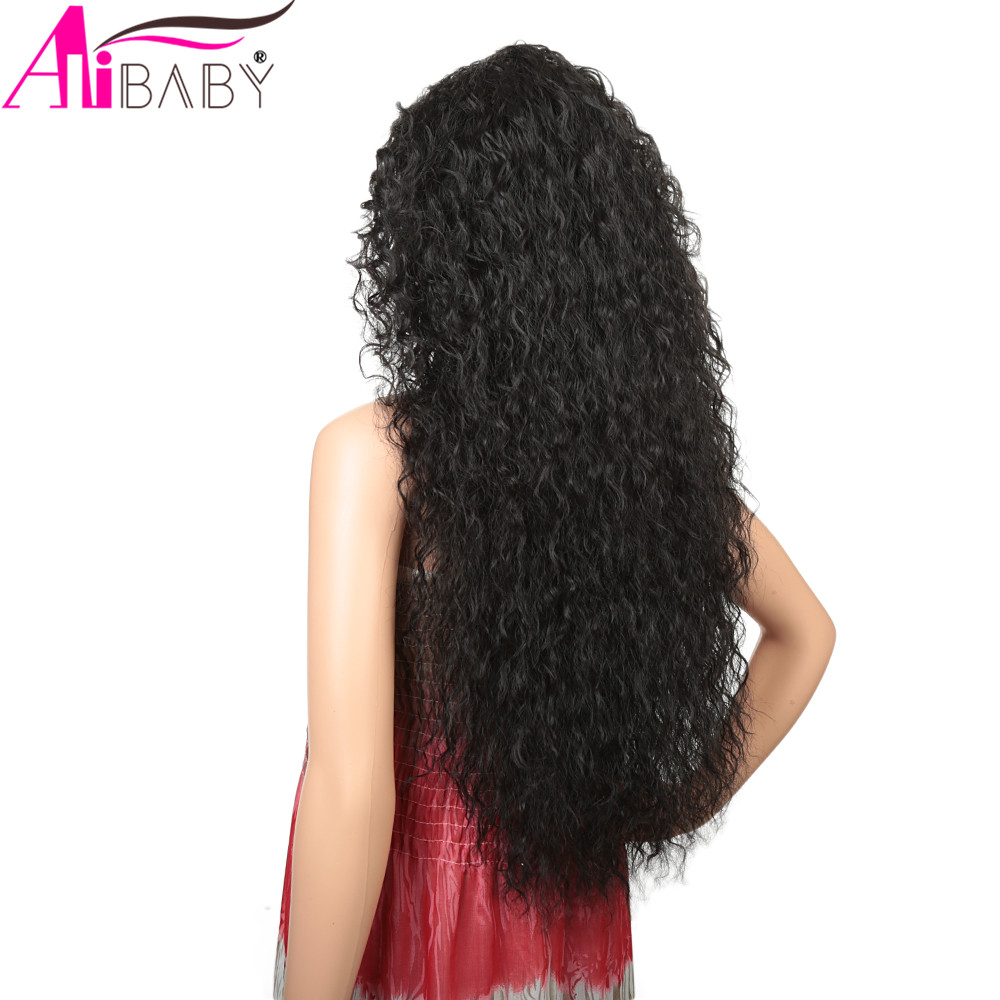feminino uso diário natural preto peruca sintética alibaby