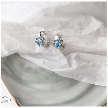 Dog Silver Blue Paw Earrings 6